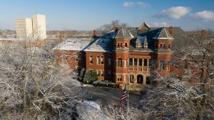 Foust building in winter