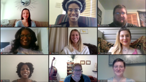 Graduate student assistant coaches of the Academic Success Coaching Program smile in the gallery view of a Zoom meeting